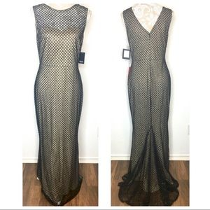 NWT Marina formal gown with train. Black nude Sz 8